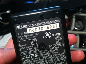 Note the voltage rating on the batter charger: 100-240V, 50-60hz
