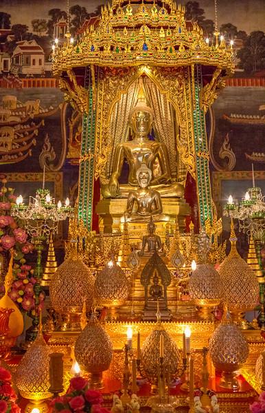 Inside Patumwanaram Temple in Bangkok.
