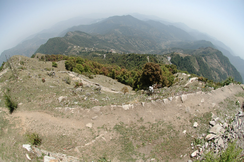 View of the Himalayas from a Hindu temple 10,000 feet above sea level.