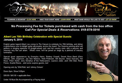 2014-01-09, OPENING ACTS,  Albert Lee's 70th Birthday Celebration at The Canyon Club