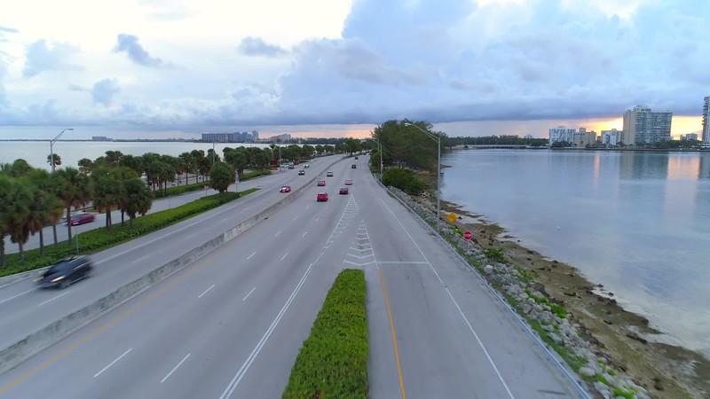 Rickenbacker Causeway Miami Brickell road traffic