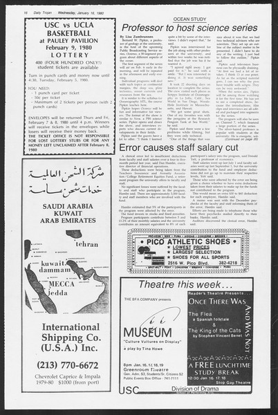 Daily Trojan, Vol. 87, No. 69, January 16, 1980