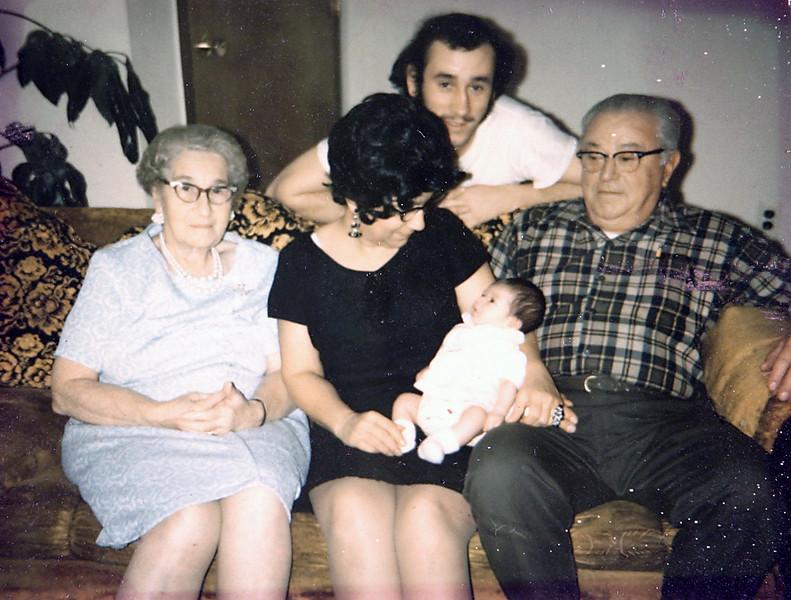 Grandma, Aunt Julia, Uncle Norm & George with crystal.JPG