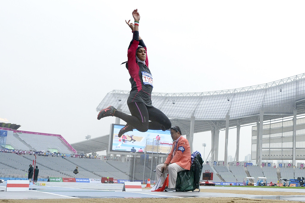 . Iran\'s Sepideh Tavakoly Nik competes in the women\'s heptathlon long jump athletics event during the 17th Asian Games at the Incheon Asiad Main Stadium in Incheon on September 29, 2014.  MARTIN BUREAU/AFP/Getty Images