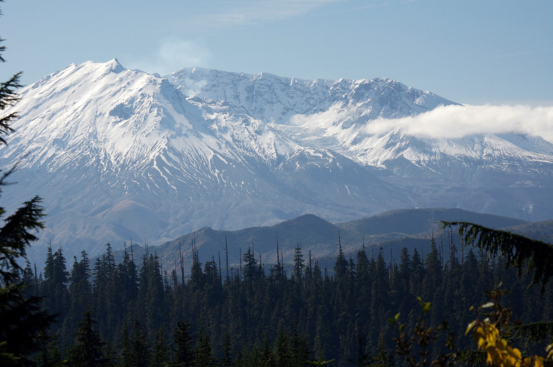 Mt St Helens.  You can see a light cloud of steam coming from the lava dome in the left side of the photo.