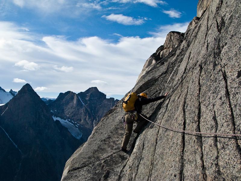 Chris Atkinson on the South Ridge of Thor Peak, Baffin Island