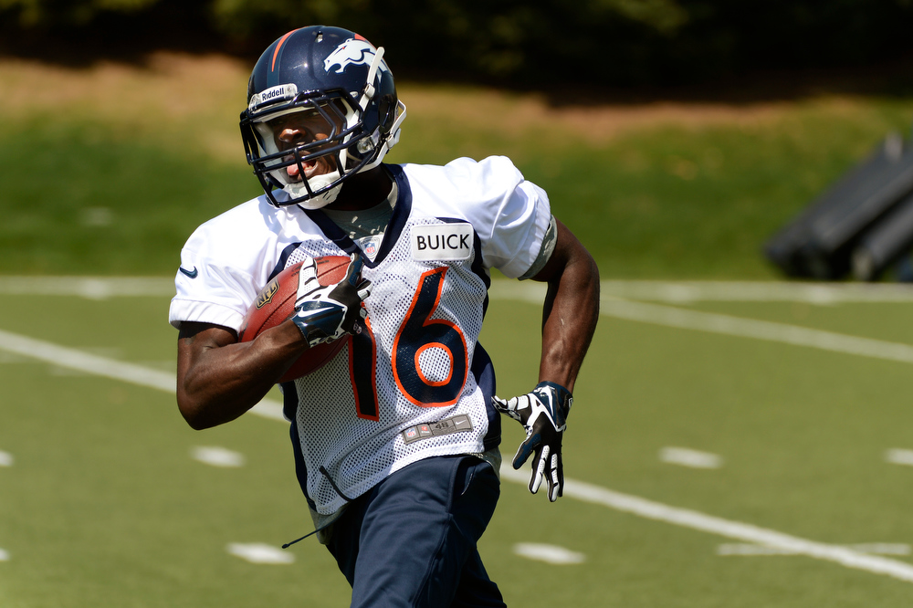 . Rookie wide receiver # 16 Quincy McDuffie running out a catch during Broncos rookie minicamp at the Broncos Dove Valley facility May 10, 2013 Centennial, Colorado. (Photo By Joe Amon/The Denver Post)