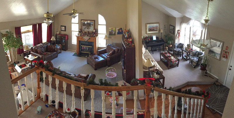 2016-12-11 – I love being home and how comfortable our home is. It isn't anything fancy, but it is very comfortable and peaceful. Coming down the stairs from the bedrooms, you can see the family room and living room on the main level. This is where we live our lives, so I shot this pano to capture my view.
