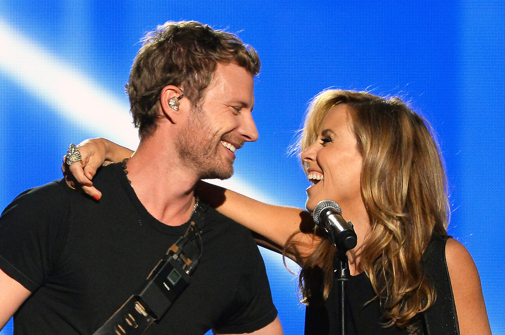 . Singer/songwriters Dierks Bentley (L) and Sheryl Crow perform onstage during the 49th Annual Academy Of Country Music Awards at the MGM Grand Garden Arena on April 6, 2014 in Las Vegas, Nevada.  (Photo by Ethan Miller/Getty Images)