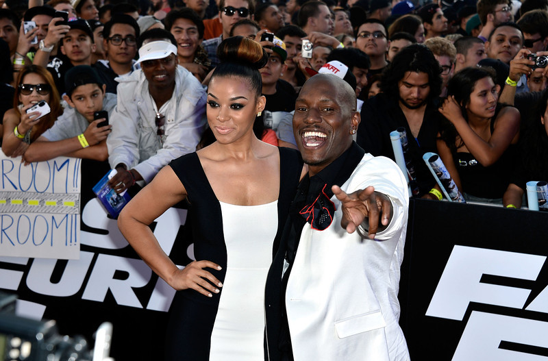 ". Actor Tyrese Gibson and Lyndriette Kristal Smith arrive at the Premiere Of Universal Pictures\' ""Fast & Furious 6\"" on May 21, 2013 in Universal City, California.  (Photo by Frazer Harrison/Getty Images)"