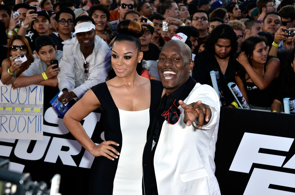 """. Actor Tyrese Gibson and Lyndriette Kristal Smith arrive at the Premiere Of Universal Pictures\' \""""Fast & Furious 6\"""" on May 21, 2013 in Universal City, California.  (Photo by Frazer Harrison/Getty Images)"""