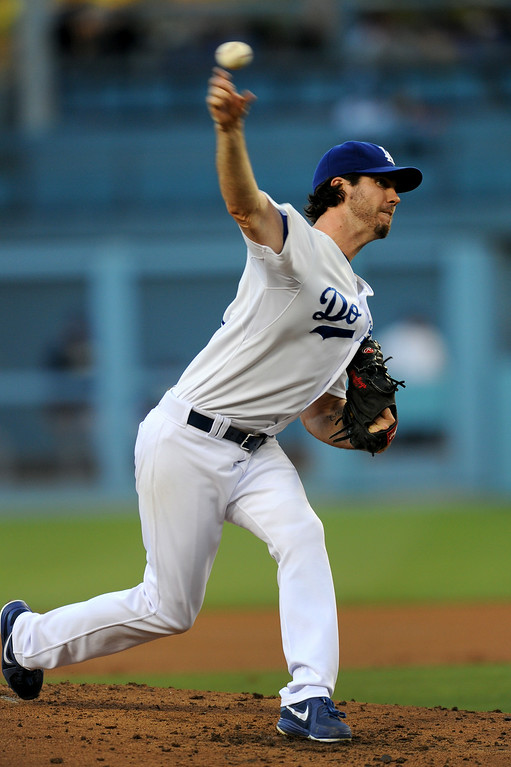 . Dodgers starting pitcher Dan Haren pitches against the Padres, Friday, July 11, 2014, at Dodger Stadium. (Photo by Michael Owen Baker/Los Angeles Daily News)