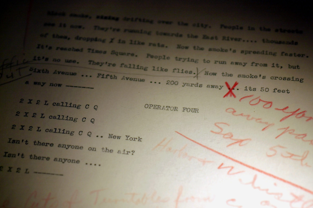 ". The final page of Orson G. Wells\' 1938 ""War of the Worlds\"" radio program is on display at the Karpeles Manuscript Library Museum in Buffalo, N.Y. on Wednesday, Feb. 19, 2003. The handwritten notes on the page were scribbled by Wells to extend the program as it was concluding on the radio.  (AP Photo/Don Heupel)"