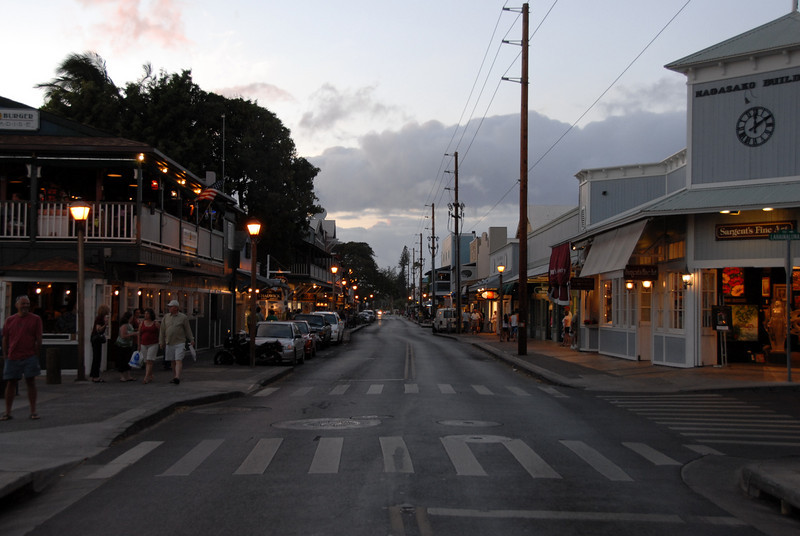 Street scene at dusk in Lahaina, Hawaii