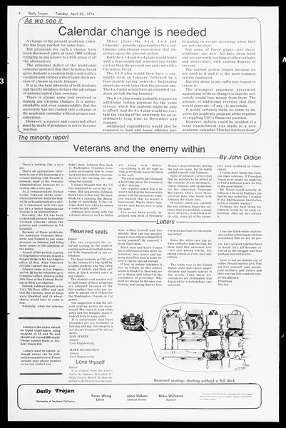 Daily Trojan, Vol. 66, No. 111, April 23, 1974