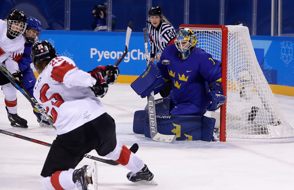 . Alina Muller (25), of Switzerland, shoots and scores a goal against goalie Sara Grahn (1), of Sweden, during the second period of the preliminary round of the women\'s hockey game at the 2018 Winter Olympics in Gangneung, South Korea, Wednesday, Feb. 14, 2018. (AP Photo/Matt Slocum)