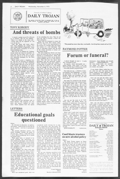 Daily Trojan, Vol. 62, No. 31, November 04, 1970