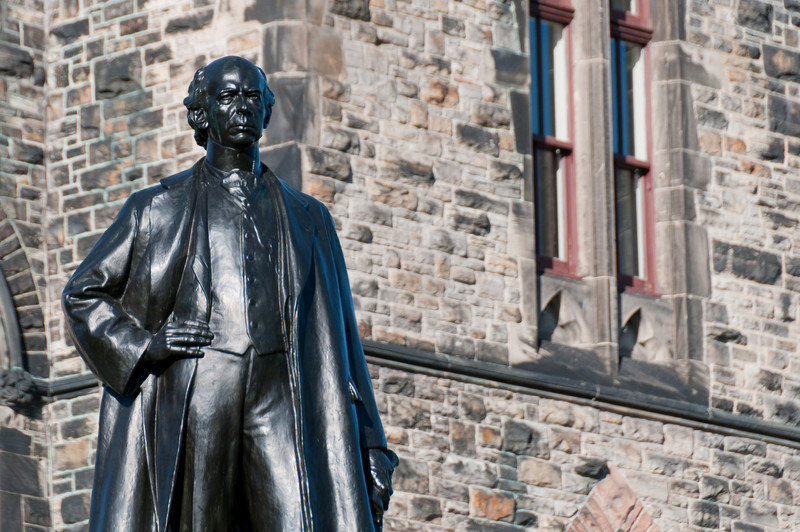 Statue of Wilfrid Laurier behind the East Block on Parliament Hill, Ottawa, Ontario Canada