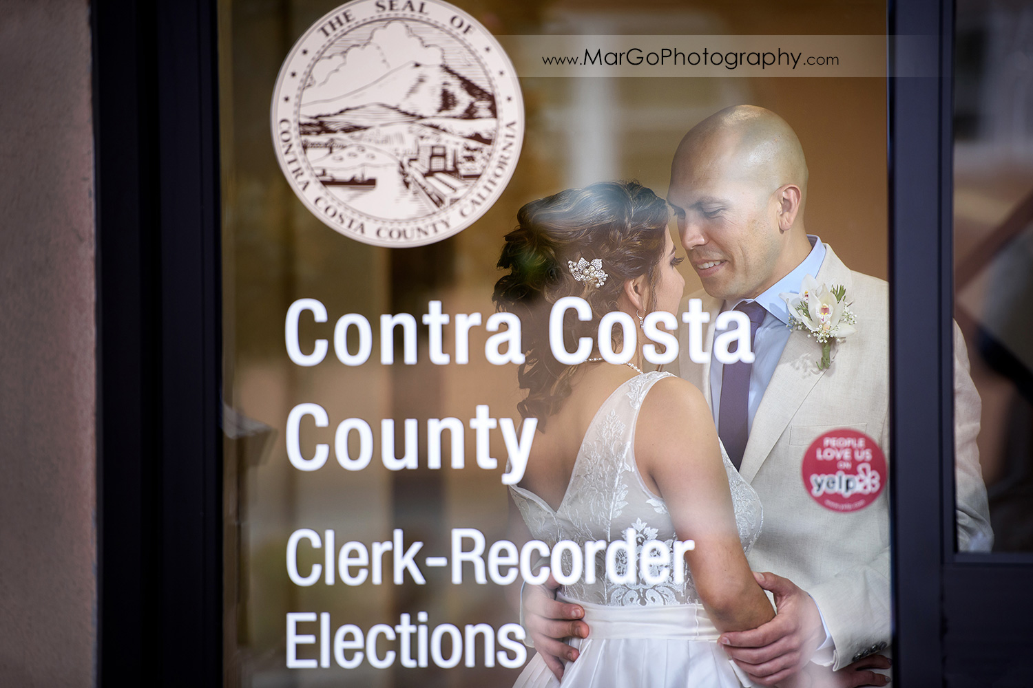 bride and groom before the ceremony at Contra Costa County Clerk-Recorder in Martinez