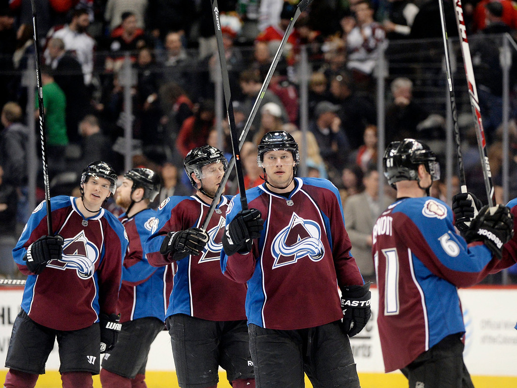 . Avalanche players saluted the fans after the win. The Colorado Avalanche defeated the Chicago Blackhawks 3-2 at the Pepsi Center Wednesday night, March 12, 2014 in Denver, Colorado. (Photo by Karl Gehring/The Denver Post)