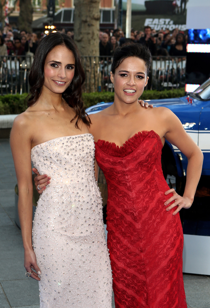 . Actresses Jordana Brewster and Michelle Rodriguez attends the World Premiere of \'Fast & Furious 6\' at Empire Leicester Square on May 7, 2013 in London, England.  (Photo by Tim P. Whitby/Getty Images)