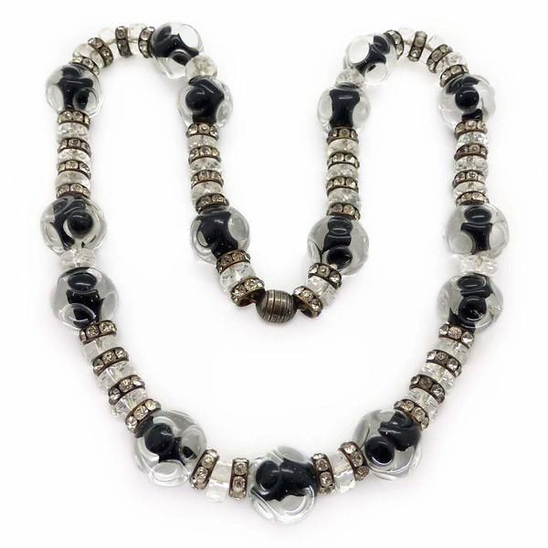 Vintage Art Deco French Paste Rondelle Glass Bead Necklace