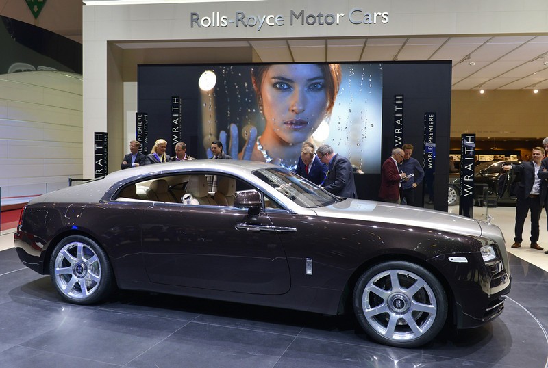 . The new Rolls Royce Wraith is displayed in World premiere at the British carmaker\'s booth on March 5, 2013 on the press day of the Geneva car Show in Geneva. The Geneva International Motor Show opened its doors to the press under a dark cloud, with no sign of a speedy rebound in sight for the troubled European market. The event, which is considered one of the most important car shows of the year, will again be heavily marked by the crisis in Europe after an already catastrophic year in 2012.  SEBASTIEN FEVAL/AFP/Getty Images