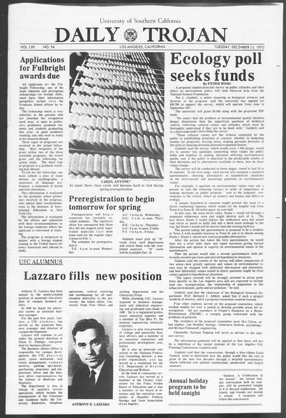 Daily Trojan, Vol. 62, No. 54, December 15, 1970