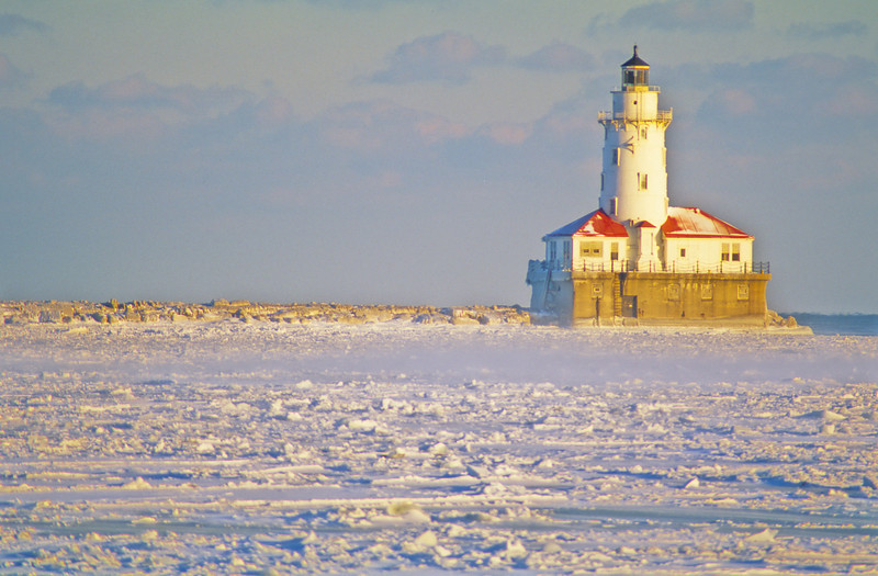 Chicago Harbor Light in Winter