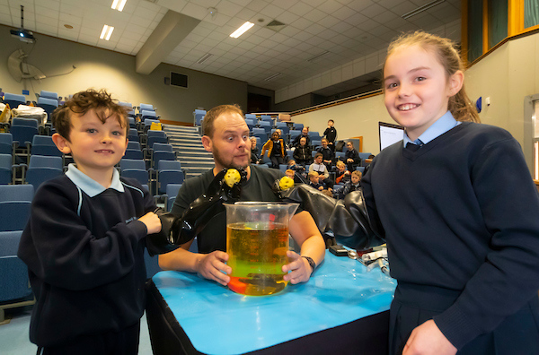 FREE TO USE IMAGE. Pictured during Science Week with WIT (Waterford Institute of Technology) by Calmast. Pictured during the Blood show with the London Science Museum at WIT. Pictured are Paraic Haran and Ellen Murphy of St Mary's school, Ballygunner NS with Ronan Bullock of the London. Picture: Patrick Browne