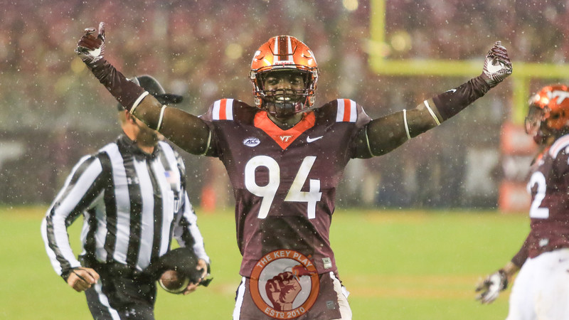 DE Trevon Hill pumps up the crowd as the Hokies get back on defense late in the game. (Mark Umansky/TheKeyPlay.com)