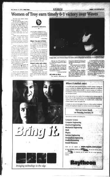 Daily Trojan, Vol. 148, No. 23, February 19, 2003
