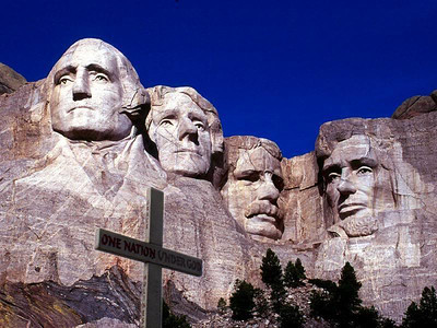 Mt Rushmore with Cross