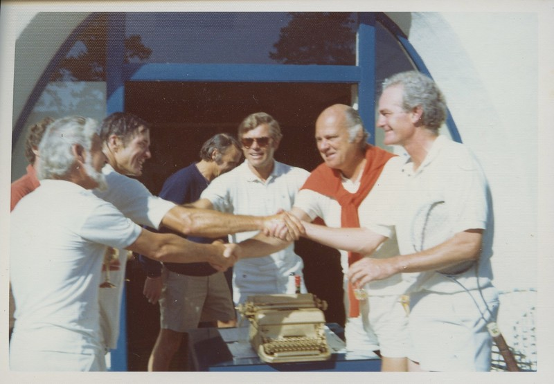 1972 - tennis tournmanent w: Galway Kinnell, Blair Fuller, Oakley Hall shaking hands.jpeg
