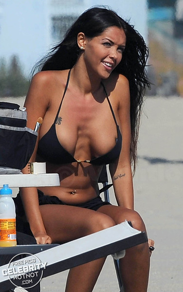 Nabilla Benattia Vergara In Black Bikini Filming Hollywood Girls With Shuana Sand