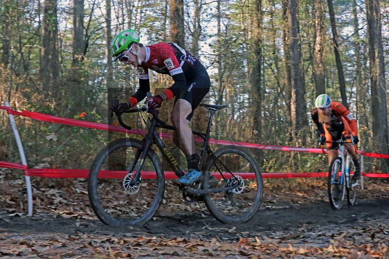 William Seitz (38) and Robert Marion (28) compete in the NC Cyclocross North Carolina Grand Prix at Jackson Park in Hendersonville, N.C., on Nov. 24, 2019