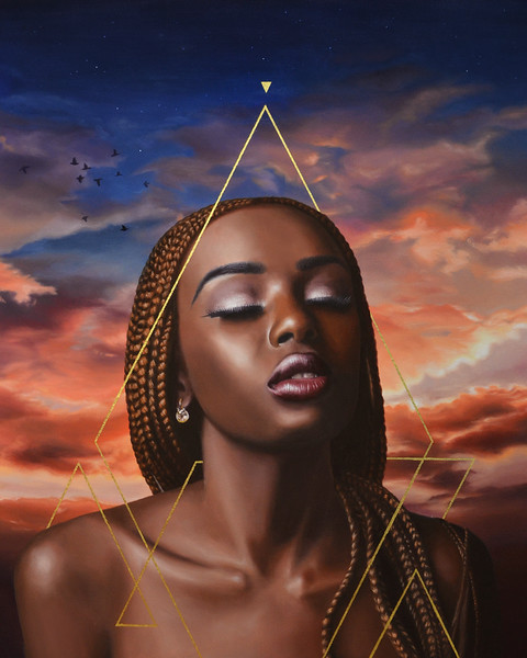 """Balance"" (oil and gold leaf on canvas) by Karen Remsen"