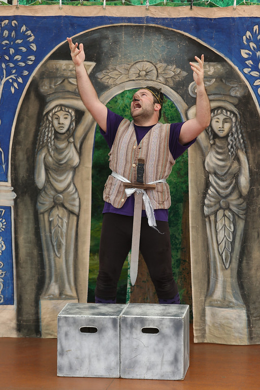 . Steven Westdahl performs in San Francisco Shakespeare\'s Midsummer Night\'s Dream on the Aesop\'s Playhouse stage at Children\'s Fairyland in Oakland, Calif., on Friday, March 15, 2013. (Jane Tyska/Staff)