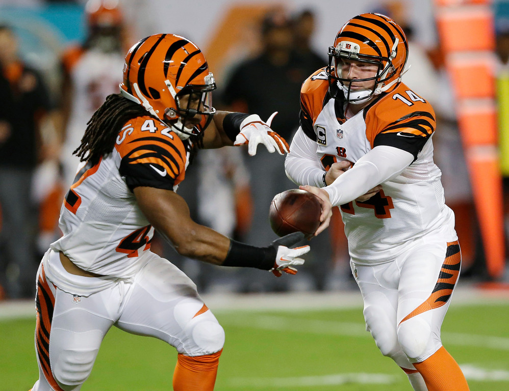 . Cincinnati Bengals quarterback Andy Dalton (14) hands the ball to running back BenJarvus Green-Ellis during the first half of an NFL football game against the Miami Dolphins, Thursday, Oct. 31, 2013, in Miami Gardens, Fla. (AP Photo/Wilfredo Lee)