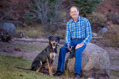 Larry Hutt and his dog, Raylan by Sherie Croft Photography.