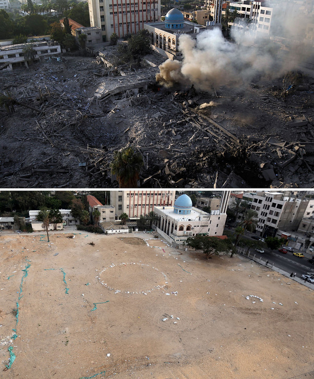 . This combination made on November 14, 2013 shows the destroyed compound of the internal security ministry in the Hamas-run government in Gaza City after it was targeted by an Israeli air strike on November 21, 2012 (top) and a picture taken on  November 13, 2013 showing the same spot (bottom), a year after the Israeli army operation which was launched on Gaza following the killing of top Hamas military commander Ahmed Jaabari in an air strike in November 2012.  AFP PHOTO / MOHAMMED  ABED/AFP/Getty Images