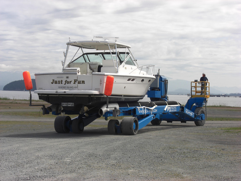 """Tiara 31 """"Just for Fun"""" ready for action after winter storage in Anacortes. June 5, 2013"""