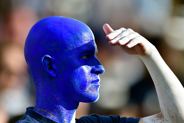 9/29/2018 Mike Orazzi | Staff UConn fans during Saturday football game with Cincinnati.