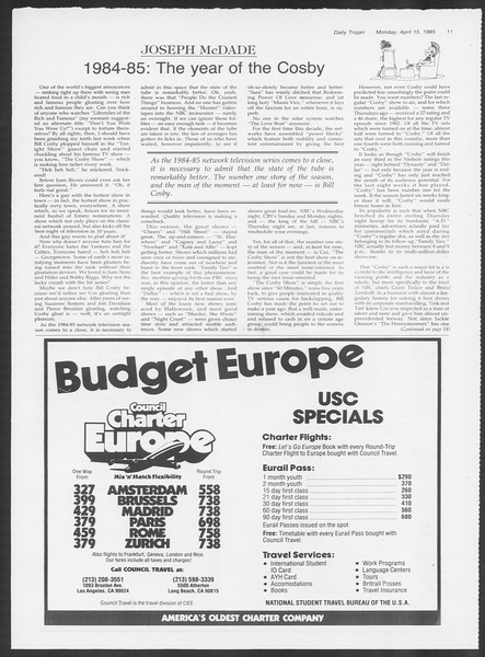 Daily Trojan, Vol. 98, No. 59, April 15, 1985
