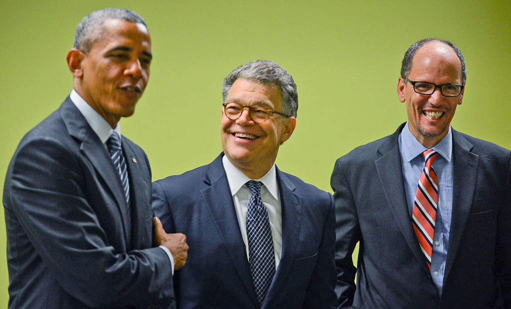 """. \""""This is your United States Senator, Al Franken,\"""" said President Barack Obama, who appeared with Franken and U.S. Secretart of Labor Thomas Perez, right, during a visit to a Workforce Center to speak with students in North Minneapolis on Friday, June 27, 2014. (Pioneer Press: Ben Garvin)"""