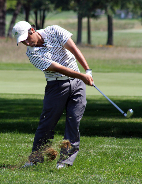 Abraham Ancer of Mission, Texas found the rough on the final hole of his opening match, but was able to stick it close at the 2012 Western Amateur Championship at Exmoor Country Club in Highland Park, IL on Friday, Aug. 3, 2012. (WGA Photo/Ian Yelton)