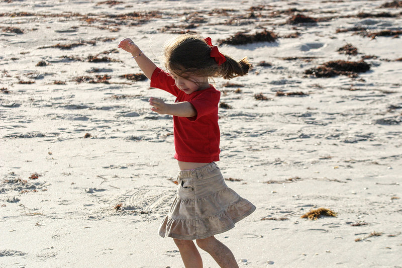 Dancing on the beach.
