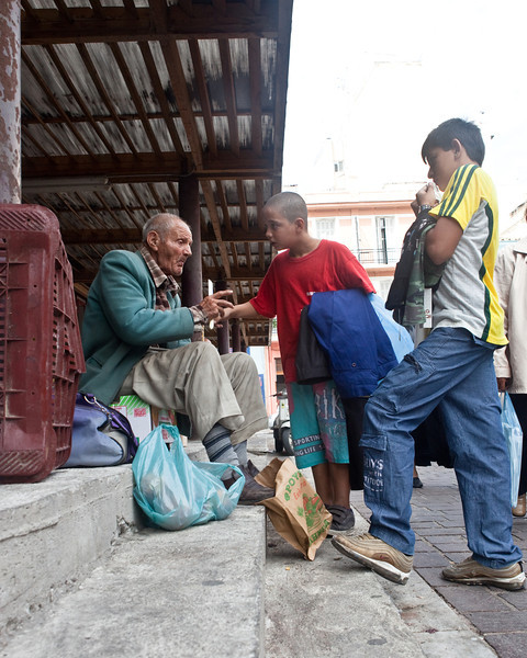 Kid Helping Elderly Man