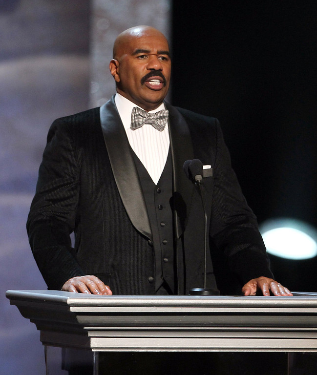 . Host Steve Harvey speaks onstage at the 44th Annual NAACP Image Awards at the Shrine Auditorium in Los Angeles on Friday, Feb. 1, 2013. (Photo by Matt Sayles/Invision/AP)