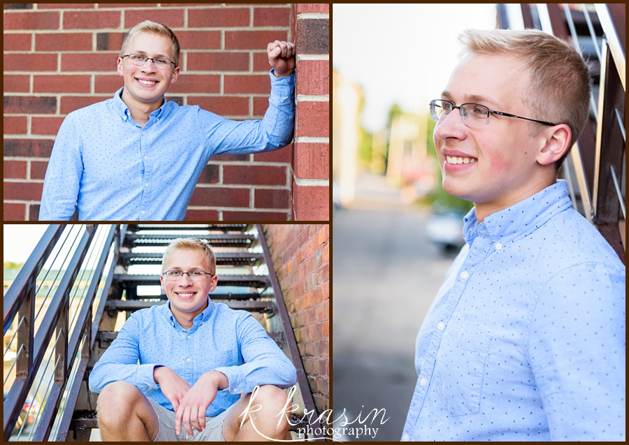 Collage of photos of senior boy in blue button up shirt